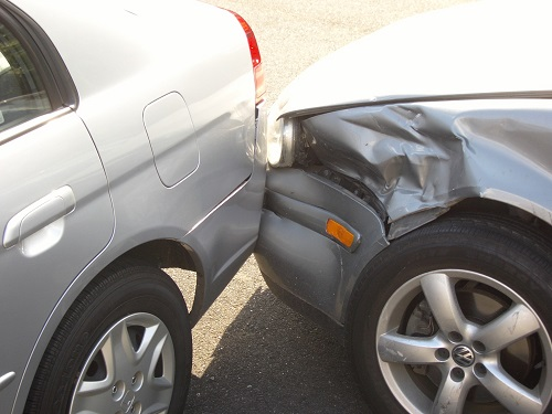 car accident with bumper damage