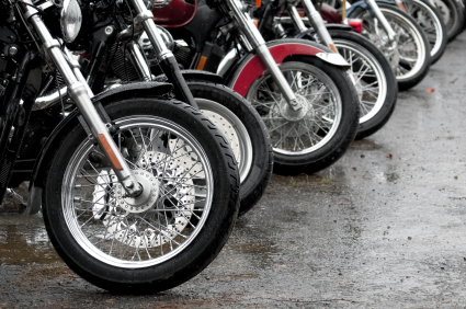 row of motorcycles parked
